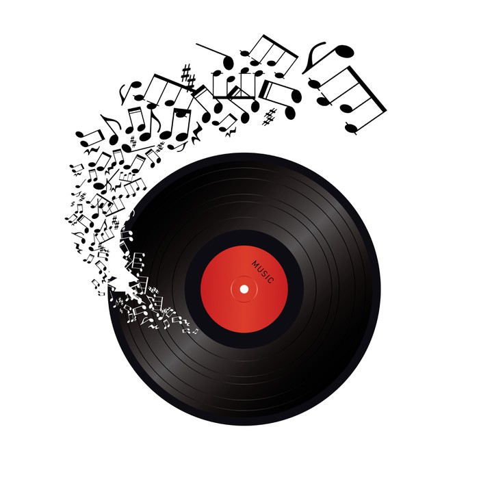 Music Notes Coming Out Of The Hole In The Vinyl Tiny Hat